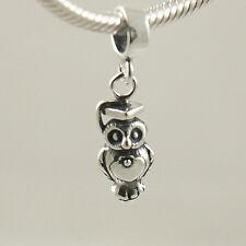 Owl in GRADUATION mortarboard-Bird-Solid 925 sterling silver European charm bead