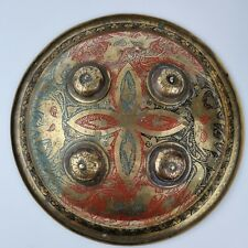 More details for vintage indian brass dhal shield with red, blue & black decorated with animals