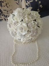 WEDDING FLOWERS VINTAGE BRIDES BOUQUET IVORY ROSES DIAMANTE PEARLS