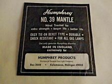 VINTAGE  HUMPHREY GAS LIGHT MANTLE NO. 39 - MADE IN ENGLAND - NIP