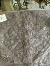 """NEW Pottery Barn Drew Embroidered 18"""" x 18"""" Throw Pillow Cover Gray"""