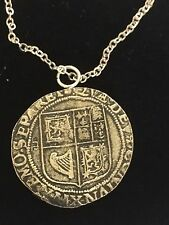 """James VI James I Shilling WC43 Pewter On a 20"""" Silver Plated Chain Necklace"""