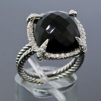 David Yurman Sterling Silver 17mm Black Onyx Diamond Chatelaine Ring Size 7.5