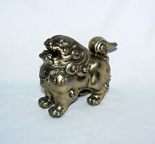 "VINTAGE 4"" FOO DOG INCENSE BURNER ASIAN FU DOG BRASS HOLDER"