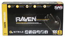 SAS Safety 66516 Raven Powder-Free Nitrile Gloves, Small