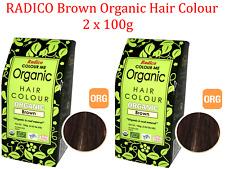 2 x 100g RADICO Brown Organic Hair Colour 200g ( Made from Henna & Herbs )