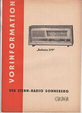 Preinformazione Bellatrix 579 VEB Stern-Radio Sonnberg RFT DDR 1967!