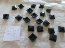 lot 20 ancienne perle navette  en jais de paris carré facetté  4 trous taille 2
