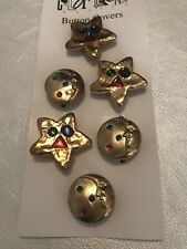 New listing Colortrend Retro Button Covers Jeweled Stars Moon 6 Count New 80's 90's Fashion