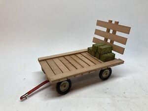 Custom 1/16 Wooden Hay Wagon Flat w/ Tru Scale Right Running Gear & 6 Bales