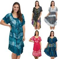 Caroline Morgan Casual Summer Dress Beach Holiday Tie Dye Gypsy Umbrella Dresses