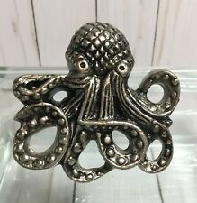 OCTOPUS Silver Pewter Metal  Nautical KNOB DRAWER PULL Choose Quantity