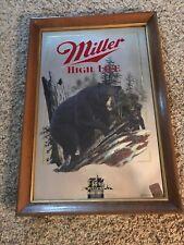 Vintage The Black Bear Miller High Life Beer Sign Mirror Framed Bar 1991