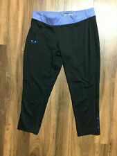 Womens Small Under Armour Heat Gear Leggings Fitted Crop Capri Yoga Black Blue