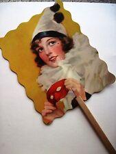 Vintage Advertising Fan w/ Pretty Woman In Clown Hat Holding Mask   *