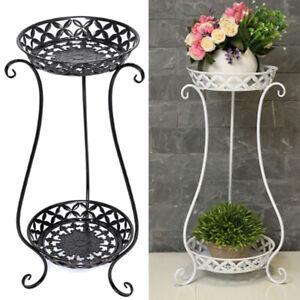 2 Holder Metal Plant Pot Stand Flower Display Shelf Garden Patio Outdoor Indoor