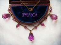SIGNED WARD BROS WBS ANTIQUE ART DECO  AMETHYST CRYSTAL DROPS VINTAGE NECKLACE