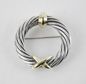 David Yurman Sterling Silver / 14K Yellow Gold CABLE X WREATH Brooch Pin