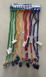 12x Metal Whistles Coloured Strings Football Sport Referee Games (x1 Single)