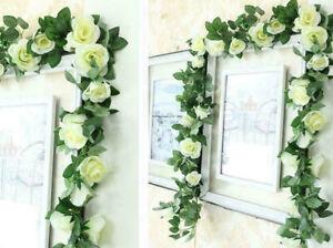 16Heads 7Ft Artificial Faux Silk Flower Rose Leaf Garland Vine Home Party Decor