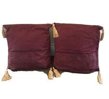 Par hecho a mano cojines cuadrados Borgoña Rojo Borla Sofá Cama Decoración x 2 Rústico