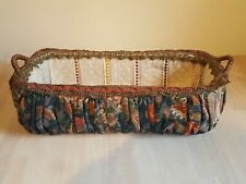Antique Doll Bed, Victorian Crib, Vintage covered basket, wicker basket