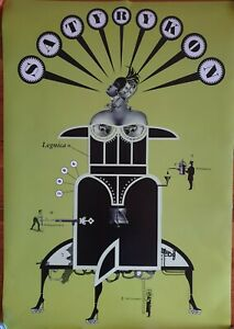 Original 2006 Polish Poster for 1969 Fellini film SATYRICON.  Striking!!