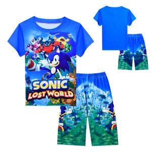 2021 Sonic The Hedgehog Kids Boys T-shirt  Pants Cotton Children Outfit Clothes