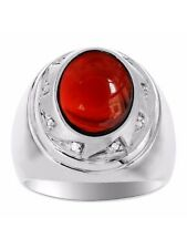 Mens Cabochon Garnet & Diamond Ring Sterling Silver or Yellow Gold Plated Silver
