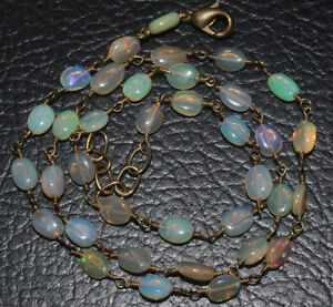 26 CRTS 19.5''  NATURAL ETHIOPIAN  OPAL SMOOTH OVAL CHAIN BEADS NECKLACE #54