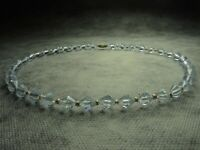 Gorgeous Art Deco Bohemian Faceted Crystal Light Blue Glass Bead Necklace