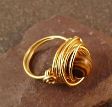 Handmade Brown Striped Howlite Wire Wrapped Ring - UK Size N