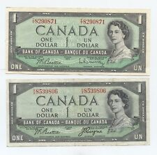 Canada Pair 1954 Issue $1 Notes (#87) One is the Regular Issue and the Other