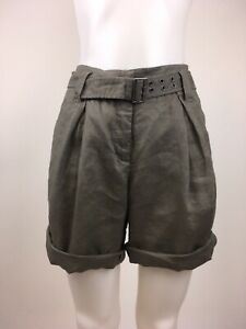 Garnet Hill Women's Size 8 Light Brown Linen Shorts Belted Adjustable Length