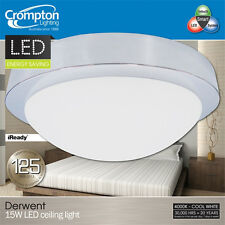Quality Crompton 15W LED Ceiling Oyster Light Chrome - Cool Daylight 5600K