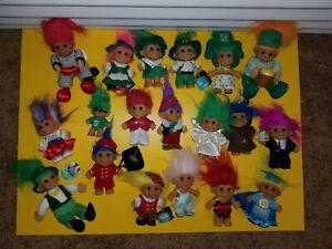 Russ Troll Dolls mixed lot 19 Irish Pinocchio waiter butler monk USA + rare ones