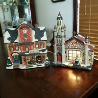 2 lighted Village Houses 1 is a School, 1 is a Church With Cords