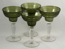 Mexican Margarita Glasses Hand Green Clear Base Glass Set 4 Blown Original