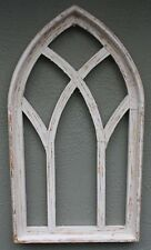 "Wooden Antique Style Church WINDOW Frame Primitive Wood Gothic 30 1/2"" Shabby"