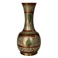 Vintage Chinese Etched Brass Floral Motif Cloisonne Vase