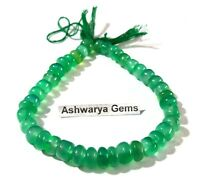 """117Ct 1 Strand Natural Green Onyx 7-9mm Smooth Rondelle Gemstone Beads 8.5""""Inch"""