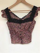 Vintage 90s Betsey Johnson Floral Cotton Pesant Corset Lace Crochet Blouse Top