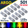 T10 Car Led White Bulbs 501 W5w Amber Red Green Interior Side Light Car Wedge