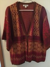Womens Very Vintage (70s) Cardigan Sweater, Coldwater Creek, Wine/Gold/Brown, 3X