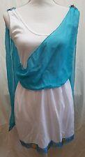 Greek Goddess Glam Dress Tunic Halloween Costume Cosplay White Blue Gold Sz S