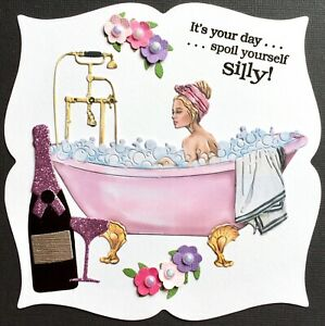 Handmade By Susie Prosecco Spoil Yourself Bath Card Topper FLAT RATE UK P&P