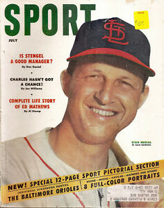 1954-7 Sport Magazine- Stan Musial, St Louis Cardinals Cover