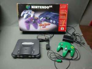 Nintendo N64 Black Console Green Controller With AV Power And Box