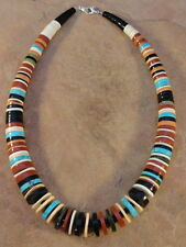 Santo Domingo Rolled Pipestone Turquoise Shell & Jet Necklace