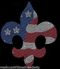 Fleur De Lis Flag Rhinestone Iron on Transfer             070113
